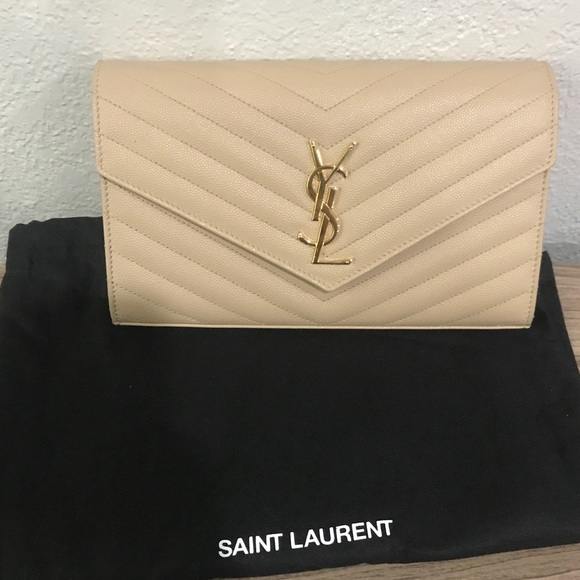 0fc2dc142218 YSL Nude wallet with gold chain